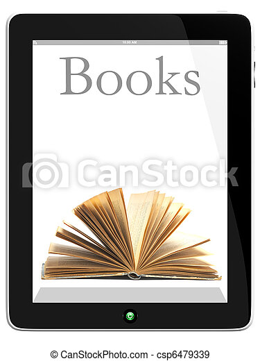 Tablet PC Computer and book - csp6479339