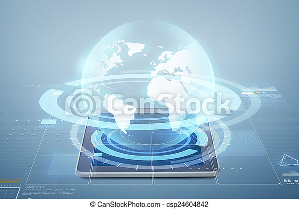tablet pc computer with globe projection - csp24604842