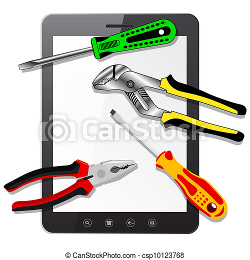tablet PC computer  with tools   - csp10123768