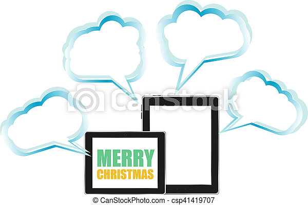 tablet pc icon with merry christmas words csp41419707 - Merry Christmas Words