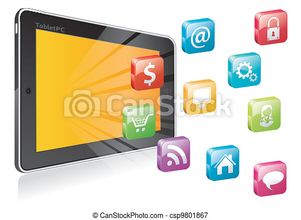 Tablet PC with a blank place for icon - csp9801867