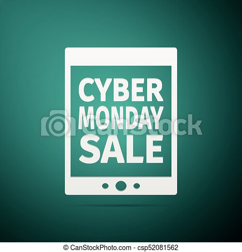 Tablet PC with Cyber Monday Sale text on screen flat icon over green background. Vector Illustration - csp52081562