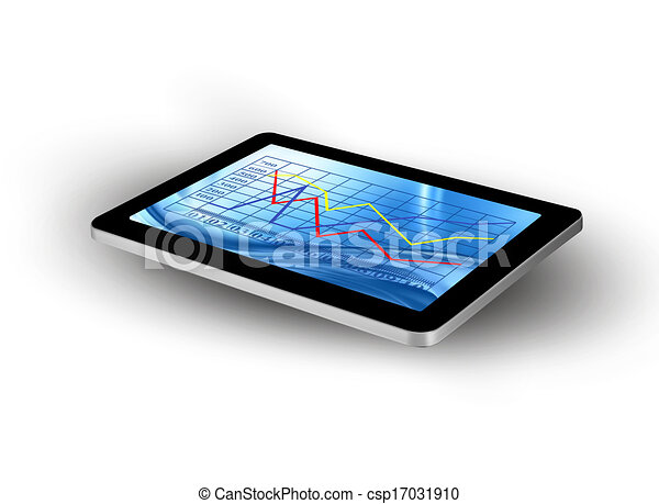 Tablet screen with graph. Vector. - csp17031910