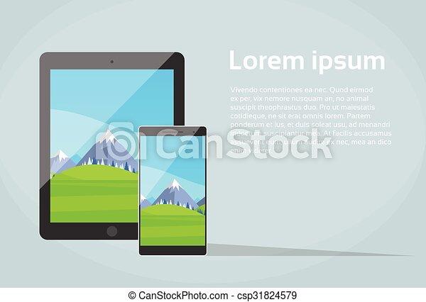 Tablet Smart Phone Responsive Design App Screen  - csp31824579