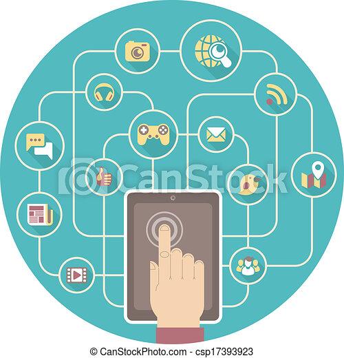 tablet, sociaal, networking - csp17393923