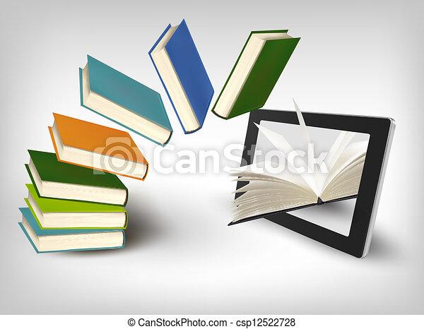 tablet., vecteur, livres, illustration., voler - csp12522728