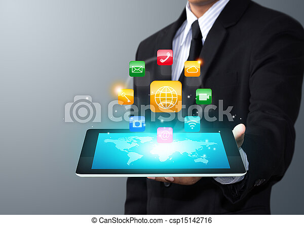 tablet with application icons - csp15142716