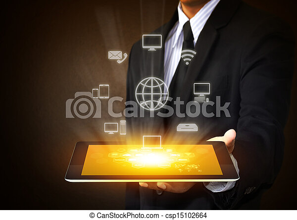 tablet with application icons - csp15102664