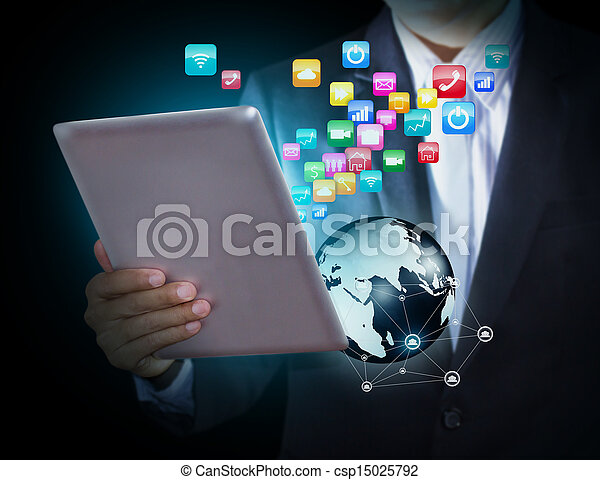 Tablet with application icons - csp15025792