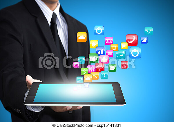 tablet with application icons - csp15141331