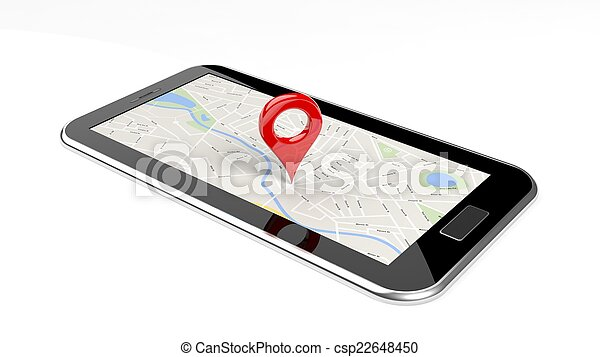 Tablet with map on screen and red pin isolated - csp22648450