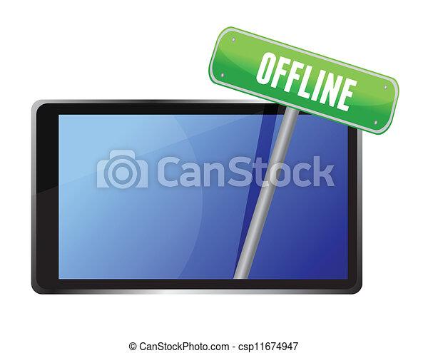 tablet with offline message - csp11674947