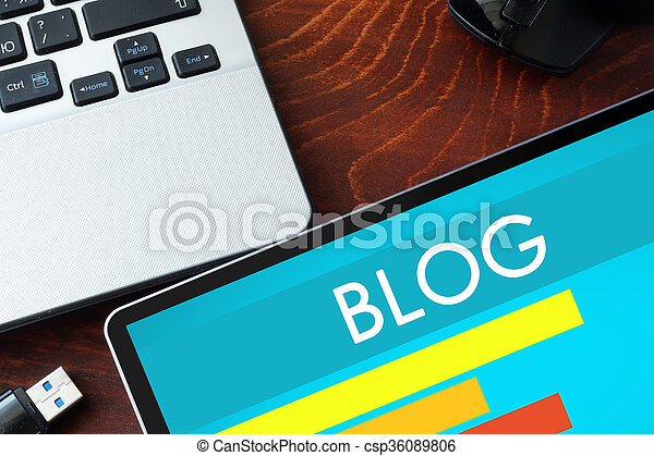 Tablet with word Blog - csp36089806