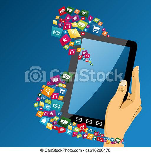 Mano humana con iconos de los medios de comunicación. - csp16206478