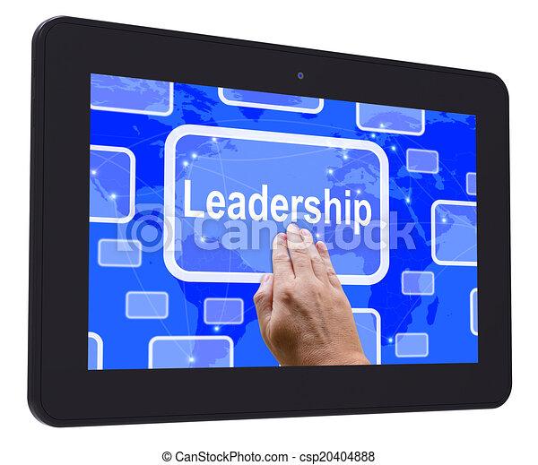 La tableta de liderazgo muestra el logro de la visión líder - csp20404888