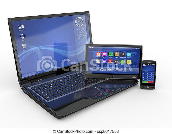 tabletta, electronics., mozgatható, számítógép, laptop, telefon - csp8017553