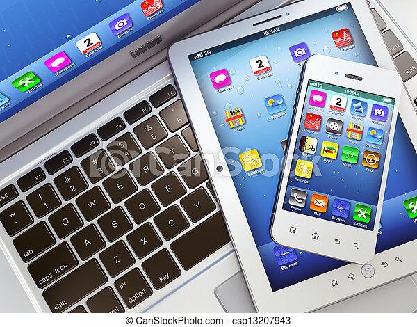 tabletta, telefon, mozgatható, laptop, számítógép, digitális - csp13207943
