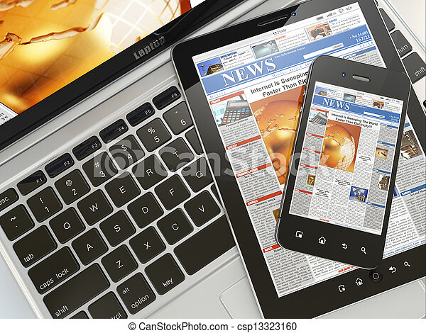 tabletta, telefon, mozgatható, laptop, számítógép, digitális, news. - csp13323160