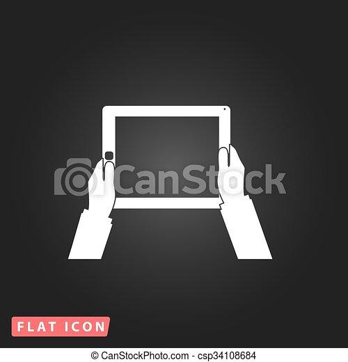 tablette, écran, mains, informatique, tenue, vide - csp34108684