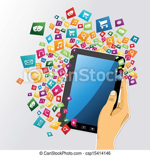 tablette, app, icons., main, pc, humain, numérique - csp15414146