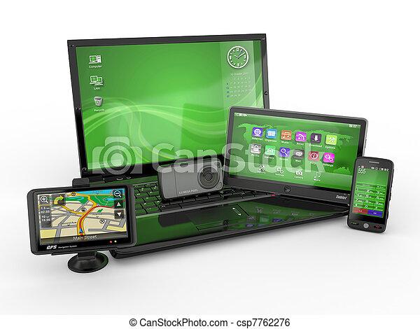 tablette, beweglich, laptop, pc, telefon, gps., 3d - csp7762276