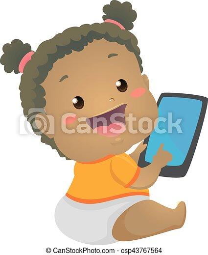 tablette, beweglich, schwarz, baby, gebrauchend, m�dchen - csp43767564