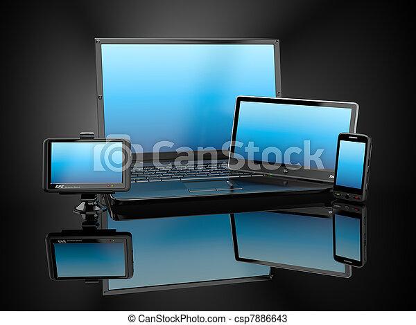 tablette, electronics., mobile, ordinateur portable, pc, téléphone, gps - csp7886643
