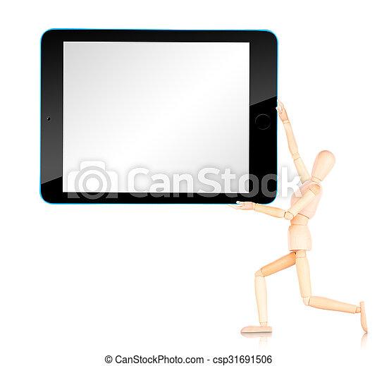 Tablet Computer mit leerem Bildschirm isoliert auf weißem Hintergrund - csp31691506