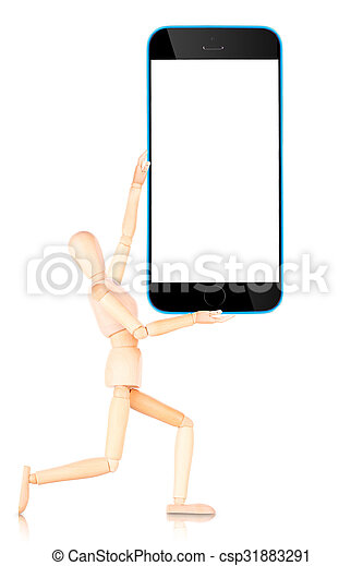 Tablet Computer mit leerem Bildschirm isoliert auf weißem Hintergrund - csp31883291