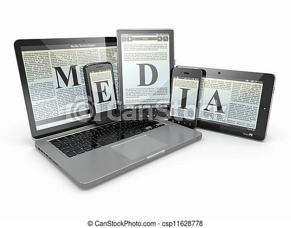 tablette, media., ordinateur portable, téléphone, pc., électronique, devices. - csp11628778