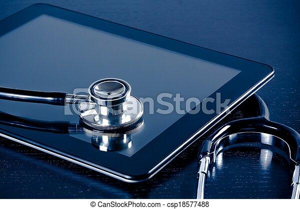 tablette, medizin, modern, pc, holz, stethoskop, digital, laboratorium, tisch - csp18577488