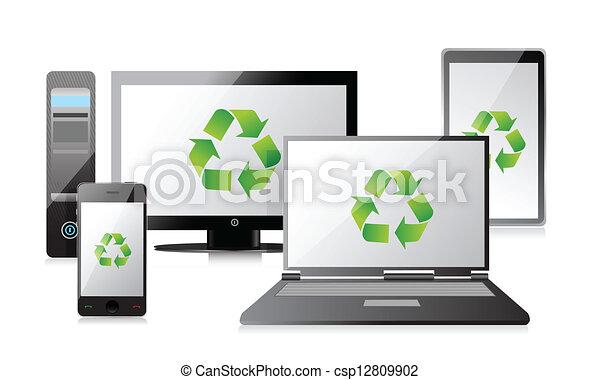 tablette, ordinateur portatif, téléphone, recycler, routeur - csp12809902