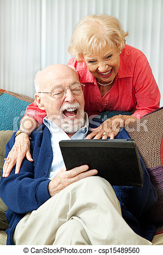 tablette, paar, -, pc, lachender, älter - csp15489560