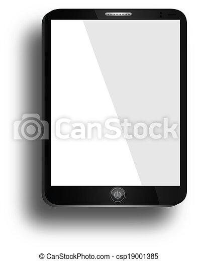 tablette, réaliste, écran, isolé, ordinateur pc, fond, vide, blanc - csp19001385