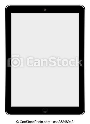 tablette, réaliste, écran, isolé, ordinateur pc, arrière-plan., vide, blanc - csp38248943