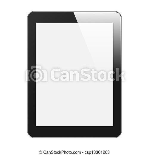 tablette, réaliste, isolé, illustration, vertical, pc, vecteur, arrière-plan., screen., vide, blanc, black. - csp13301263