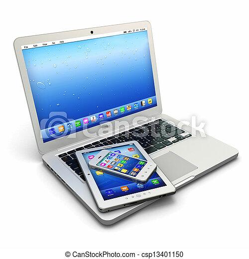 tablette, téléphone, mobile, ordinateur portable, pc, numérique - csp13401150