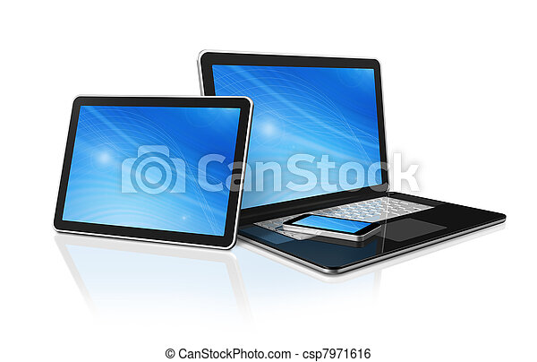 tablette, telefon, beweglich, laptop, pc computer, digital - csp7971616