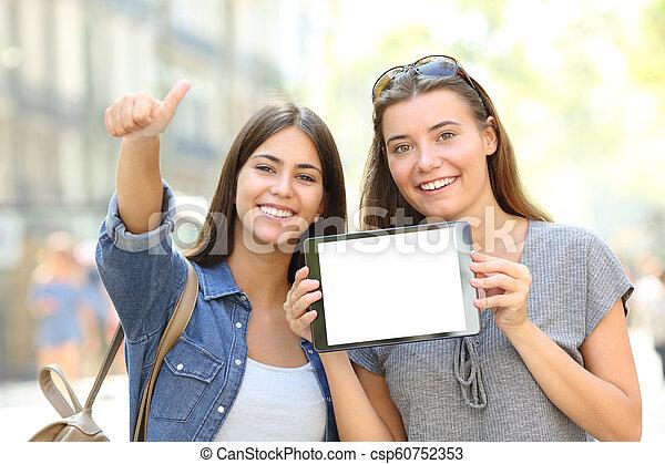tabliczka, dodatni, pokaz, czysty, przyjaciele, ekran - csp60752353