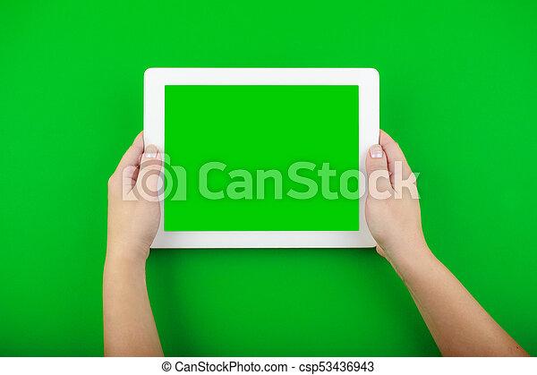tabliczka, ekran, czysty, samicze ręki, biały, utrzymywać - csp53436943