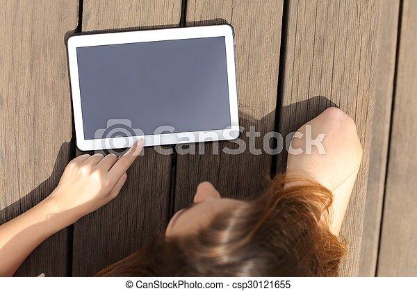 tabliczka, ekran, czysty, używając, dziewczyna, pokaz - csp30121655
