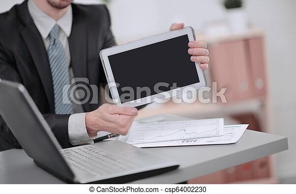 tabliczka, ekran, up.businessman, czysty, zamknięcie, pokaz - csp64002230