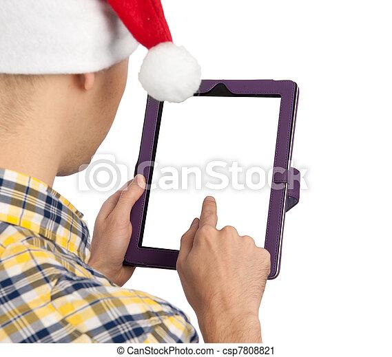 tabliczka, ekran, zawiera, komputer, czysty, biały, człowiek - csp7808821