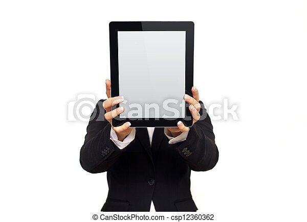 tabliczka, pokaz, wykonawca, cyfrowy, okienko osłaniają - csp12360362
