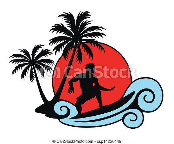 Surfear una ola con palmas y - csp14226449