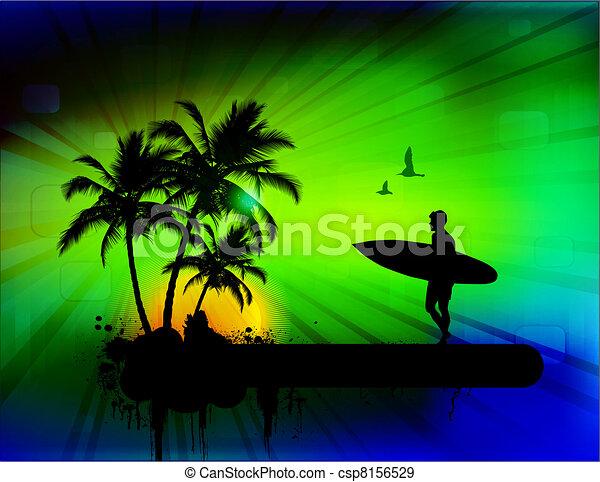 Trasfondo tropical con surfer - csp8156529
