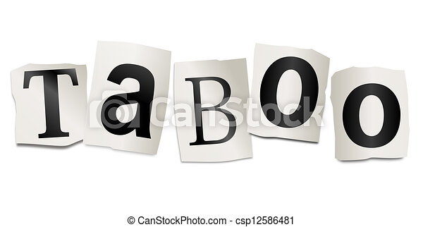 taboo concept illustration depicting cutout printed letters