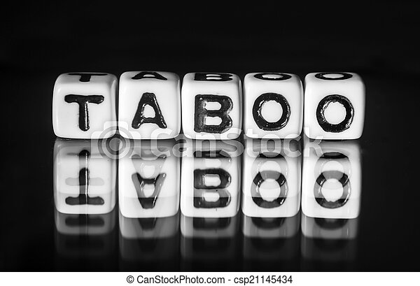 taboo with black and white theme and letters with text