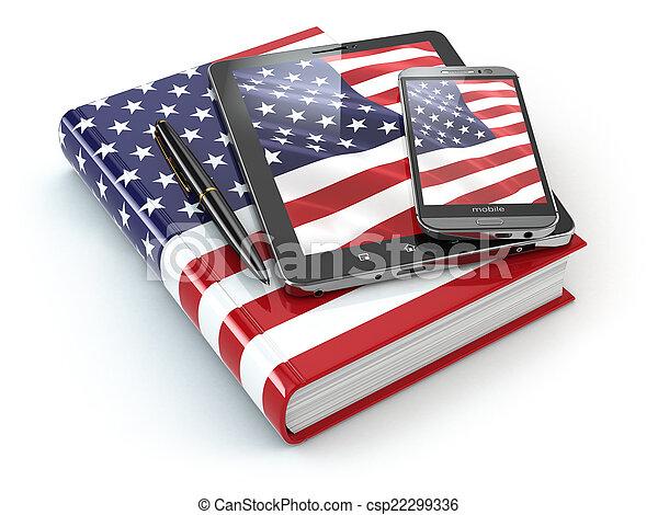 tabuleta, móvel, pc, americano, inglês, smartphone, learning., dispositivos - csp22299336