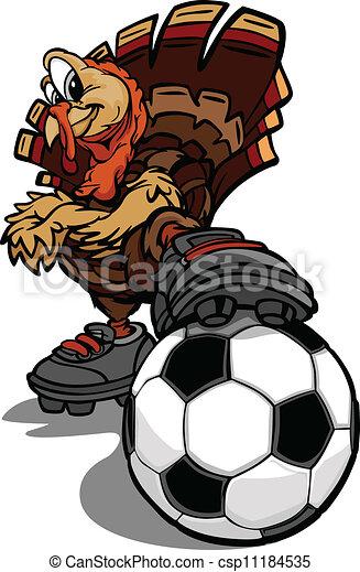 Tacchino calcio ringraziamento illustrazione vettore vacanza